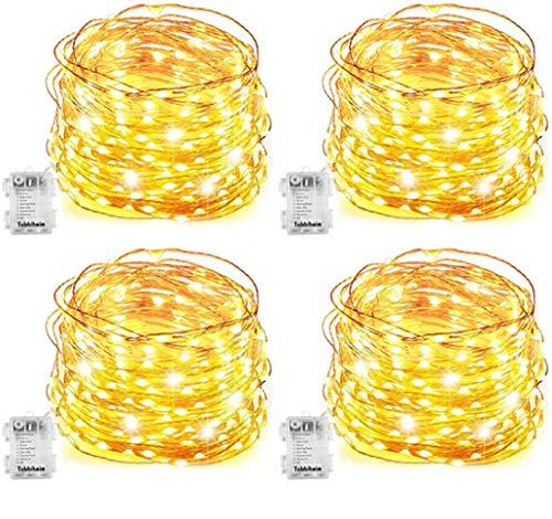 4 Stück Batterie Lichterketten Außen 50 LEDs 5 Meter IP68 Wasserdicht 3 Modi DIY Dekoration Kupferdraht für Weihnachten, Garten, Hochzeit, Kunststoff, Warmweiß