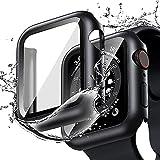 Cover Impermeabile per Apple Watch 44mm Series 6/SE/5/4 con Vetro Temperato, Qianyou PC Custodia HD Clear Pellicola Protettiva Protezione Totale Ultra Sottile Bumper Case Copri per iWatch 44mm (Nero)