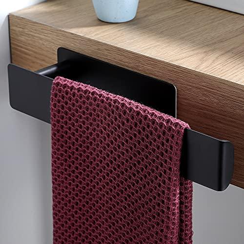 Deprik Handtuchhalter ohne Bohren - Schwarz Handtuchstange Selbstklebend Badetuchhalter Edelstahl Handtuchring für die Bad