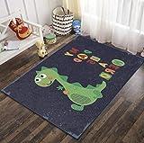 QNYH Alfombra de Juguete para niños de Sala de Juegos con impresión 3D de Dinosaurio Lindo de Dibujos Animados, decoración de cabecera para habitación de niños Alfombra de rastreo bbay 50cmx80cm