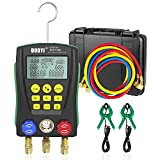 Digital Manifold Gauge Set Pressure&Temp Test HVAC Manifold Pressure Leak Test Digital Refrigerant Gauges Vacuum HVAC Gauges with Refrigerant Hoses&Temperature Clamps&LCD Display for Air Conditioning