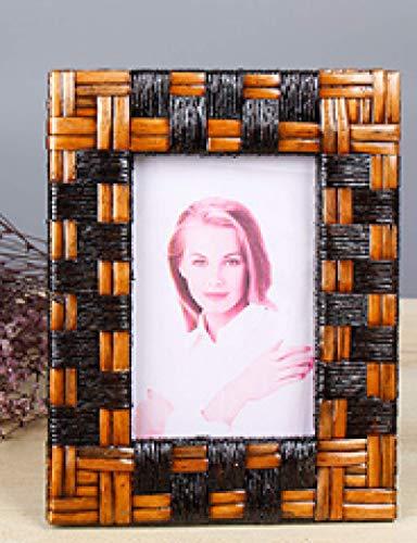 Marco de fotos de mimbre artesanías de madera creativas marco de fotos conjunto decoración 7 pulgadas estilo tres