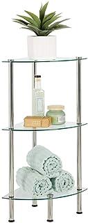 mDesign étagère salle de bain moderne – étagère d'angle en verre à 3 niveaux – valet de douche élégant pour serviettes, cr...