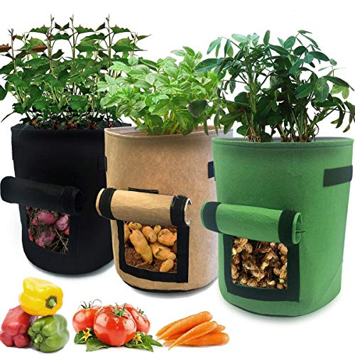 Nicheo 3 Pcs 10 Gallon Garden Boxes, Easy to Harvest, Planter Pot with Flap and Handles, Garden Planting Grow Bags for Potato Tomato and Other Vegetables. Breathable Nonwoven Fabric Cloth