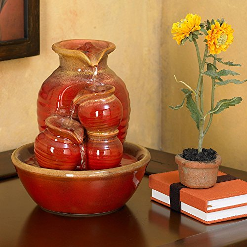 John Timberland Country Jar 9' High Ceramic Red Table Fountain