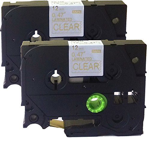 Neouza 2PK compatibile per Brother P-Touch Laminated TZe TZ Label tape Cartridge 12 mm x 8 m TZe-134 Gold on Clear