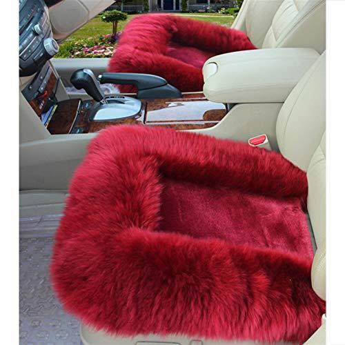 PC 1 Auto fundas de asiento de lana almohadilla caliente del invierno de lana natural cubiertas del asiento de coche universal ajuste for la mayoría de camiones de coches, SUV mat ( Color Name : Red )