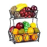 Fruit Basket - ESEOE 2-Tier Metal Fruit Bowl Bread Baskets, Detachable Countertop Fruit Vegetables Holder kitchen Storage Stand, Black