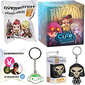 Deadly Game Player Overwatch Mini Figure Backpack Hanger Pocket Pop! Reaper Bundled with + Cute Blizzard Series 4 Character + Keychain Hanger Collectable + Button Gear 5 Items