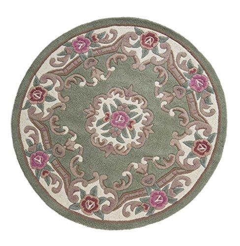eRugs Alfombra china tradicional redonda original Aubusson Floral 100% lana tejida a mano, color verde, 120 x 120 cm