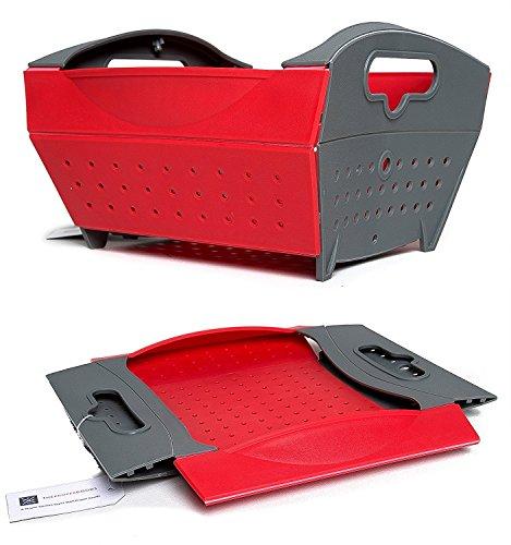 Proper Goods Smart Collapsible Folding Colander - Straining Washing Basket Folds Flat - Easy Storage Design