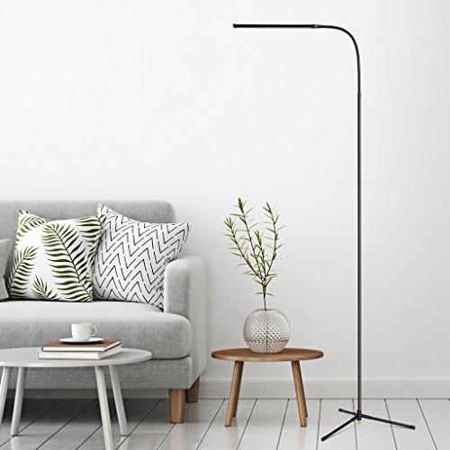 SLYPNOS Lámpara de pie LED moderna, lámpara de pie con brillo ajustable, luz blanca cálida, protección para los ojos, brazo ajustable, lámpara de pie de lectura para dormitorio, sala de estar, oficina, color negro