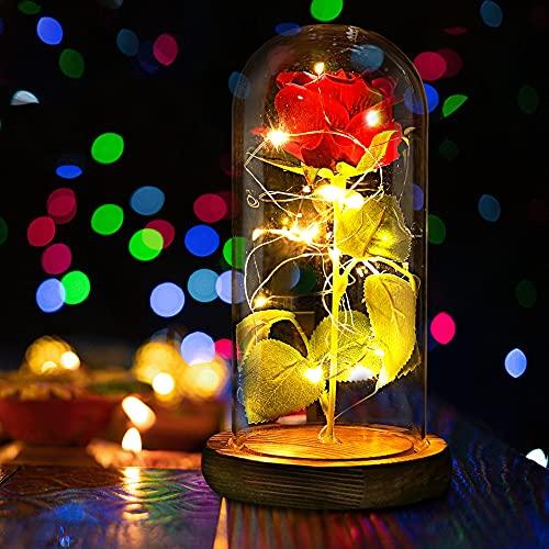 maguja Rosa Eterna elegante cúpula de cristal con base de pino, luces LED, regalo mágico, decoración para el día de la madre, San Valentín, cumpleaños, aniversario de boda ⭐