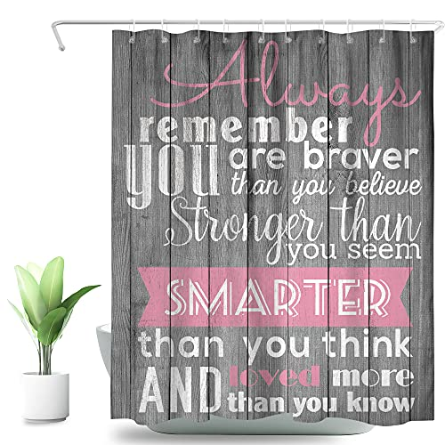 SVBright Motivational Quotes Shower Curtain Gray Wood Plaque Hanging Decor 60Wx72L Inch Pink Inspirational Gifts Girls Women 12 Pack Hooks Polyester Waterproof Fabric Bathroom Bathtub Panels