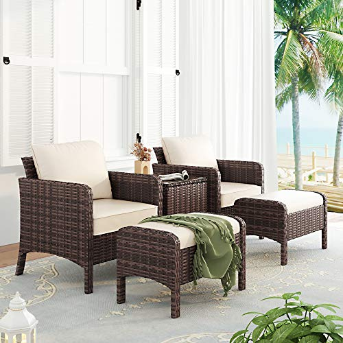 Homfa Conjunto de Jardin 5 Piezas Muebles de Jardín Ratán Conjunto Mesa y Sillas con Cojínes y 2 Escabel para Terraza Balcón Marrón y Beige