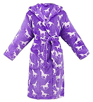 Womens Bathrobe Hooded Printed Flannel Fleece Womens Bathrobe with Side Pockets Robe for Women,Unicorns