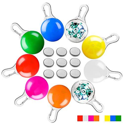 AFUNTA LED-Halsband für Hunde und Katzen, 9 Stück zum Anklipsen, für Hunde, LED-Lichter, Sicherheitsleuchte für Haustiere, 9 Farben, inklusive 9 Batterien
