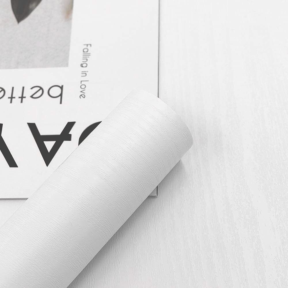 Papel Adhesivo para Muebles Madera Blanca 60 cm x 300 cm Vintage Pegatina Vinilo Adhesivo Muebles Rollo Decorativos Cocina Armario Mesa Puerta Muebles