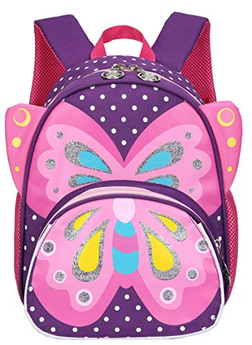 Kids Toddler Backpack 3D Cute Zoo Animal Butterfly Cartoon Pre School Children Backpack (Purple)