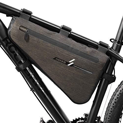 Rahmentasche FengXun wasserdichte Radtasche aus Nylon Dreieck Fahrradtasche Satteltasche Triangle Bag Regenschutz für Mountainbikes, Rennräder,Damenrad, E-Bike u.s.w. 8L große Kapazität (40*23*6CM)