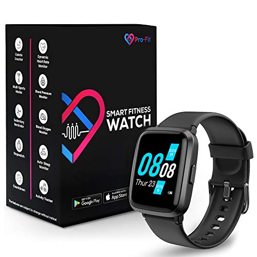 Pro-Fit Go VeryFitPro Smart Watch Activity Fitness Tracker Heart Rate Blood Oxygen Blood Pressure & Sleep Monitor Calorie Counter Pedometer Compatible with iPhone Samsung & Android (ID205U) (Black)