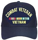 Combat Veteran Vietnam with Ribbons Baseball Cap. Navy Blue. Made in USA
