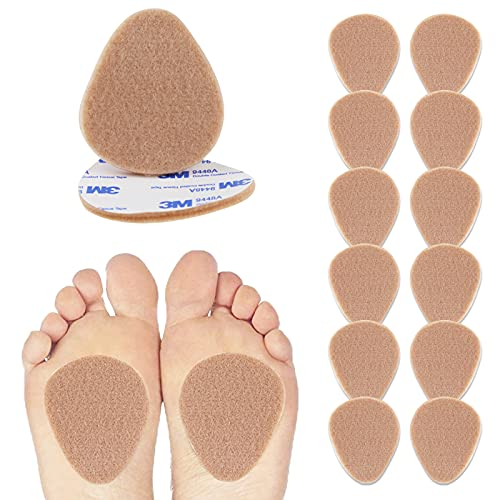 "Felt Metatarsal Pads - 6 Pairs (12 Pieces) , Ball of Foot Cushions for Forefoot and Sole Support, Foot Pain Relief, Orthotics for Women and Men, Metatarsalgia Mortons Neuroma (1/4"" Inch Thick )"