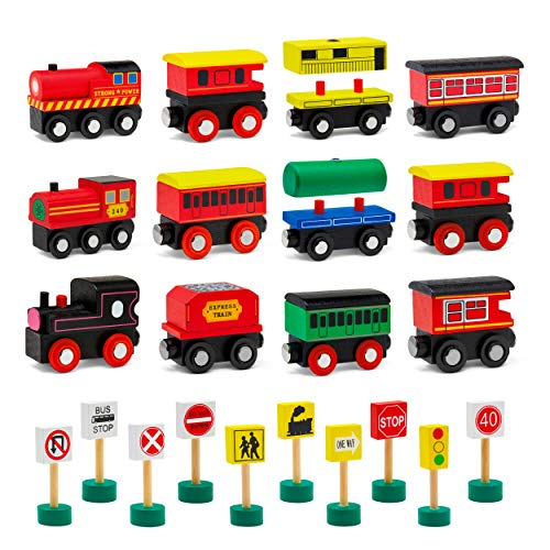 Wooden Train Set & Accessories Bundle | Toddler Toy Bundle Includes (12) Train Toys & (10) Traffic & Road Signs | Exciting Magnetic Toys for Boys & Girls | Compatible with All Train Set Tracks