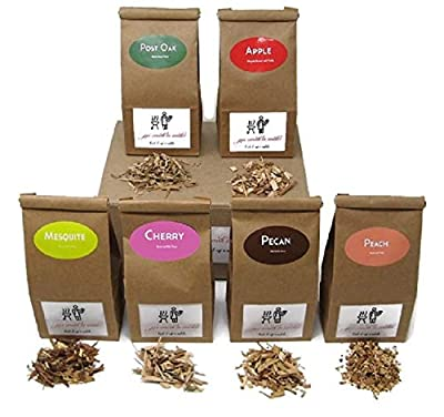 Jax Smok'in Tinder - FINE Wood Chips Sampler Pack for STOVETOP Smokers, 6 of Our Popular Chips in One-Pint Paper Bags