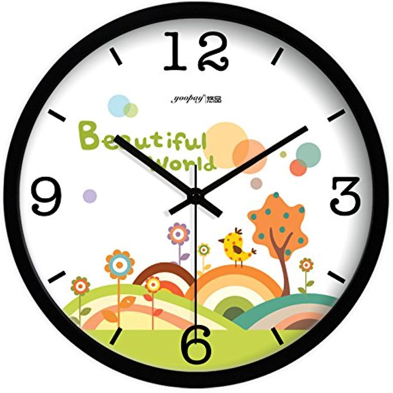 Shuangklei Salón Reloj De Parojo Cuarzo Tranquila Habitación De Decoración Creativa De Moda Relojes De Parojo,Negro,30X30Cm.