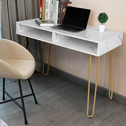Escritorio para ordenador con 2 cajones, estructura de mármol, escritorio pequeño con cajones, mesa de trabajo para oficina, estudio, mesa de estudio u oficina, 103 x 77 x 55 cm