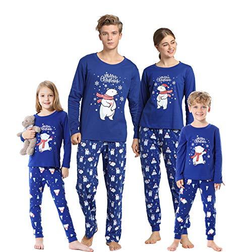 Hupohoi Family Matching Pajama Sets Cute Polar Bear Sleepwear Christmas Clothes Nighty, Christmas Bear Blue, Men-XL