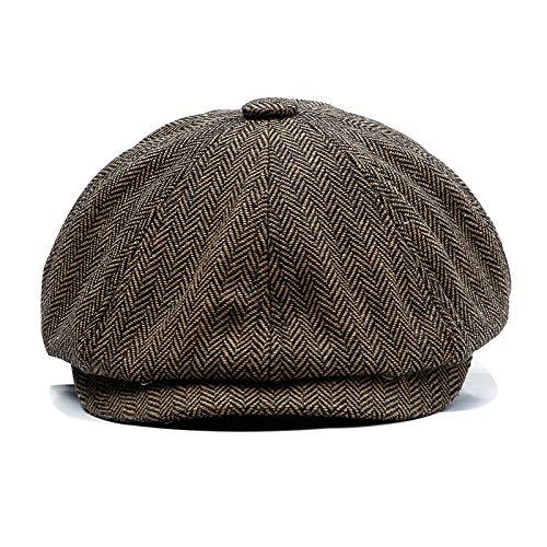 Ueither Uomo Donna Coppola a Spina di Pesce, Berretto Strillone Gatsby Tweed Cappello