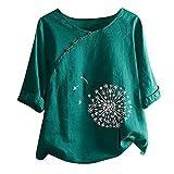 Blusa para mujer con patrón de diente de león, camiseta con manga larga 3/4, cuello redondo, camiseta básica, túnica, camisa, tallas grandes, elegante, holgada, cómoda verde XL
