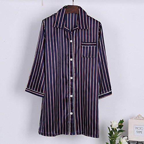 WDDGPZSY Nachthemd/Nachtwäsche/Schlafhemd/Homewear/Pyjamas/Mode Streifen Easy Revers Thin Section Nachthemd Boyfriend Wind Damen Pyjama, Blau Streifen, XL