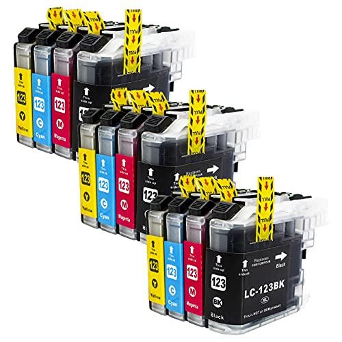 Reemplazo para el cartucho de tinta Brother LC123, encaja con MFC-J4410DW MFC-J4510DW MFC-J4610DW MFC-J4710DW MFC-J4710DW MFC-J470DW, Paquete de 12