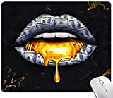 Money Lips Fripping Gold Mouse Pad, Black Marble Texture with Golden Veins Mouse Pad, Franklin Lips Mousepads, Custom Gaming Mouse Pads Non-Slip Rubber MousePads for Computers Laptop Office