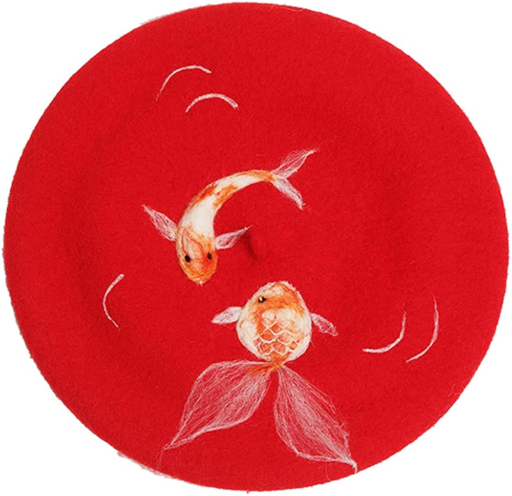 Wedding Gift red Auspicious Ranking TOP18 koi New Max 80% OFF C hat Painter Wool Year