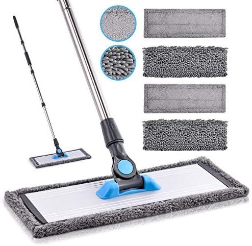 Microfiber Floor Hardwood Mop MANGOTIME Dust Wet Mop with 4 Washable Chenille Microfiber Pads product image