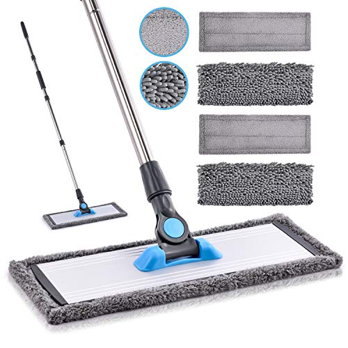 Microfiber Floor Hardwood Mop - MANGOTIME Dust Wet Mop with 4 Washable Chenille & Microfiber Pads and Aluminum Plate, Flat Mop for Floor Cleaning Laminate Tile Vinyl Kitchen Home Mint