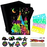ZZLWAN Gifts for 4 5 6 7 Year Old Girls Arts and Crafts, 50pc Rainbow Scratch Art Paper Set for Kids ,Top Christmas Birthday Present for Boys Girl Toys Age 8 9 10