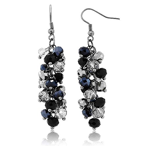Gem Stone King 2inches Black and Silver Cluster Faceted Crystal Dangle Hook Earrings For Women