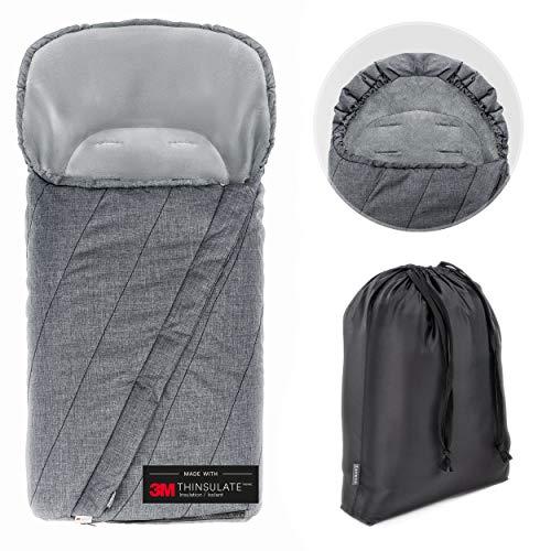 Zamboo Winter Fußsack 3M für Kinderwagen & Buggy - Winterfußsack mit warmer Thinsulate Füllung, Anti-Rutsch-Beschichtung, Mumien Kapuze und Tasche - Grau