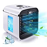 Portable Air Cooler, HISOME 4-In-1 Small Air Conditioner, Air Cooling Fan and Humidifier, Mini Evaporative Cooler and Aroma Diffuser for Home Office, 3 Fan Speeds, 7 LED Lights