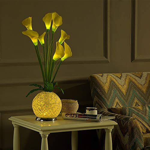 Hancoc Simple Moderno Material Respetuoso con el Medio Ambiente Fuerte disipación de Calor sin radiación Uniforme luz plástico Calla Lily Dormitorio lámpara de Noche/luz Nocturna