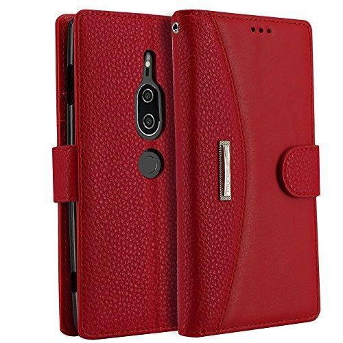 IDOOLS Funda para Sony Xperia XZ2 Premium,Magnético Cubierta Plegable,Soporte Plegable, Ranuras para Tarjetas, Adecuado para Funda Sony Xperia XZ2 Premium - Rojo