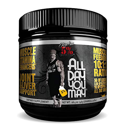 Rich Piana 5% Nutrition All Day You May 10:1:1 BCAA Post Workout Muscle & Joint Recovery Drink Supplement Powder, Essential Amino Acids, Creatine, Sugar-Free, 16.4 oz, 30 Servings (Mango Pineapple)