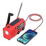Tiemahun Emergency Solar Dynamo Hand Crank AM/FM/NOAA Weather Alert Radio with 5000mAh Power Bank, Flashlight, Reading Lamp & SOS Alarm for Camping Gadgets (RED)