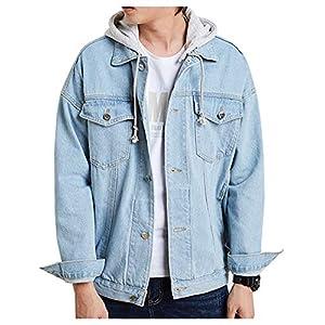 Men's Denim Hoodie Jacket Casual Blue Trucker Jean Coat