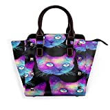 Tote Bag Cute Cats Colorful Heads Shoulder Bag 3D Printed Non-Fading Handbags Women's Waterproof Handle Bag Durable Multi-Functional Crossbody Travel Bag with Strap Zipper
